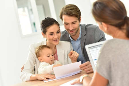 Young family working on estate plan